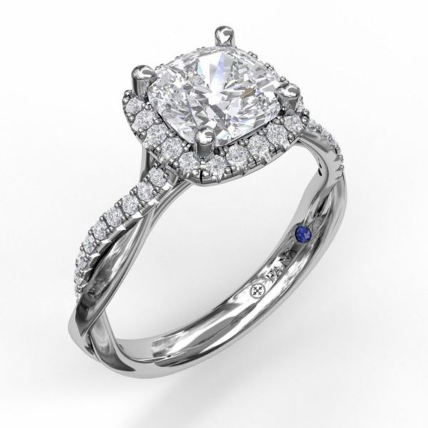 Cushion Cut Halo Ring with Criss Cross Band Parris Jewelers Hattiesburg, MS