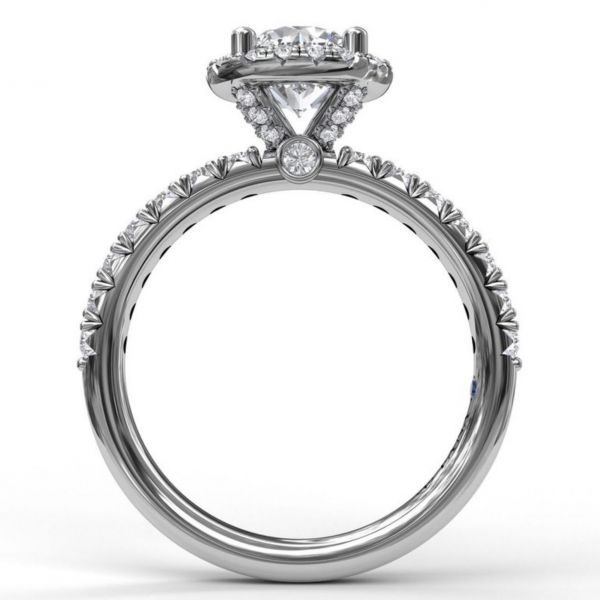 Round Halo and Round Cut with Pave Engagement Ring Image 2  ,