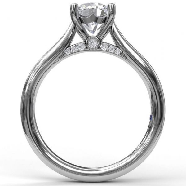 Round Cut Solitaire with Decorated Bridge Image 2 Parris Jewelers Hattiesburg, MS