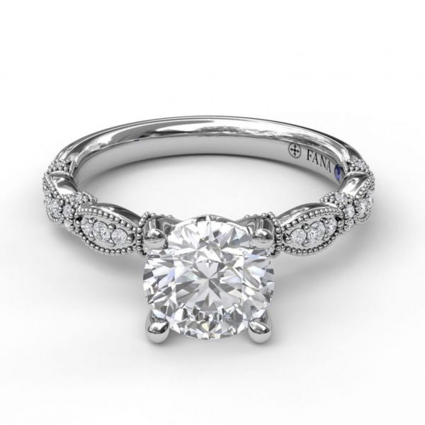 Round Cut Solitaire with Scalloped Buckle Band Image 3 Parris Jewelers Hattiesburg, MS
