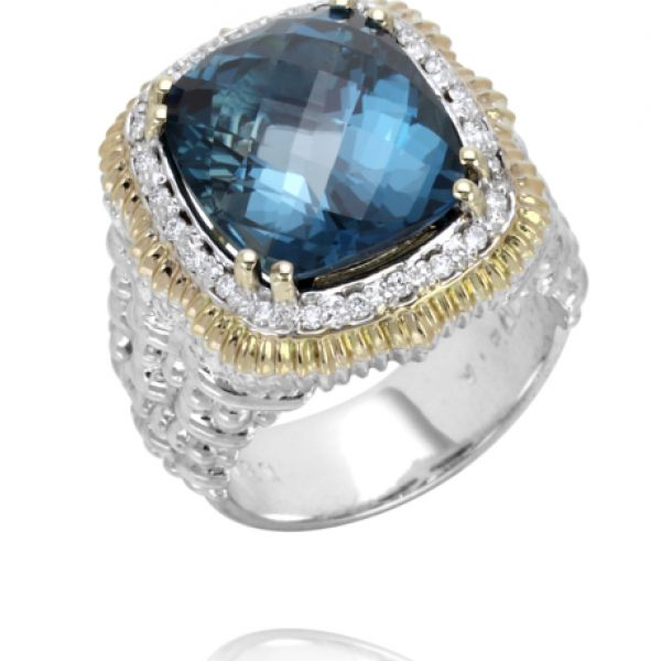 Sterling Silver, 14k Gold, Diamonds, and London Blue Topaz Parris Jewelers Hattiesburg, MS