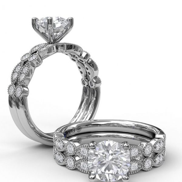 Round Cut Solitaire with Marquise & Round Band Image 4  ,