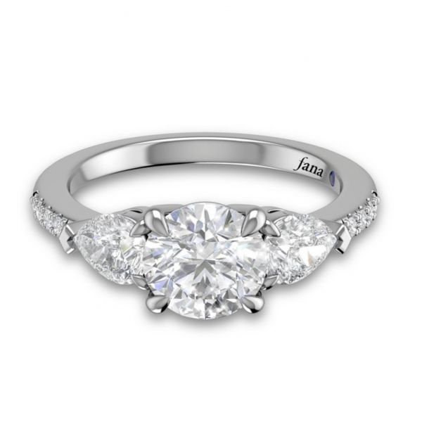 Three Stone Engagement Ring with Pear Shaped Diamond Side Stones Image 3  ,