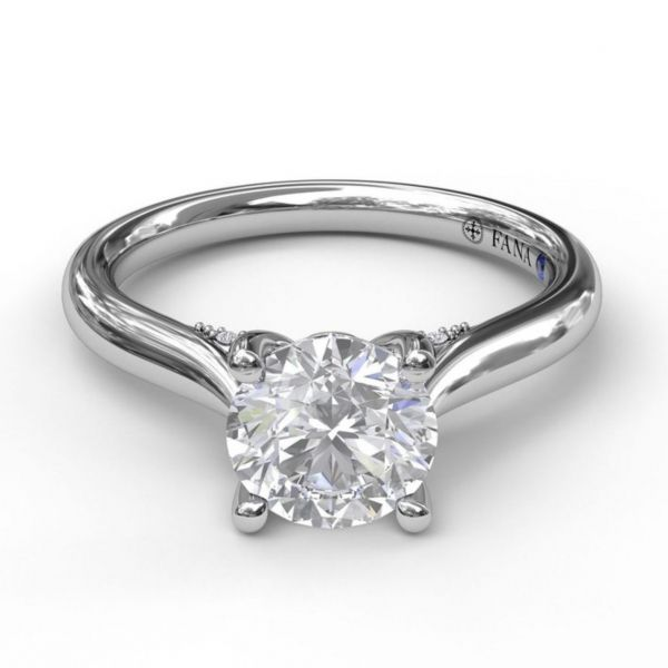 Round Cut Solitaire with Decorated Bridge Image 3 Parris Jewelers Hattiesburg, MS