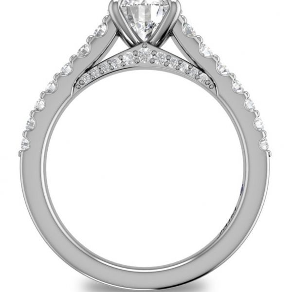 Round Cut and Bold Pave Engagement Ring Image 2  ,