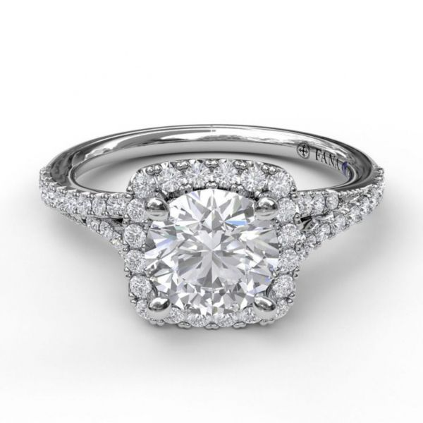 Cushion Halo with Pave Split Band Engagement Ring Image 3  ,