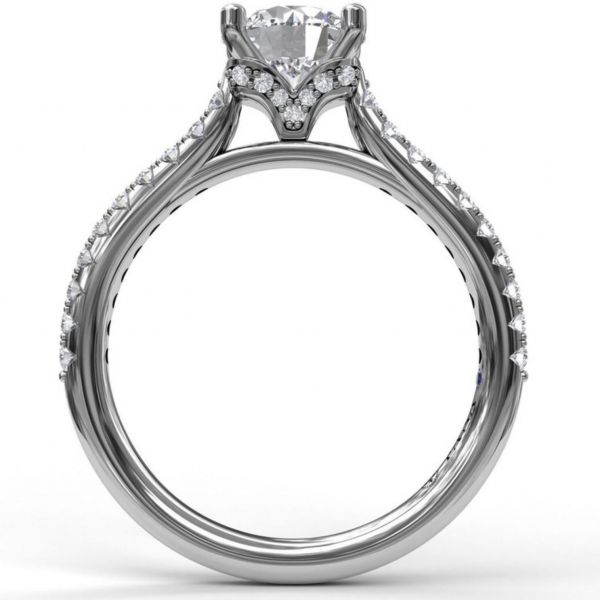 Delicate Round Cut and Pave Engagement Ring Image 2  ,