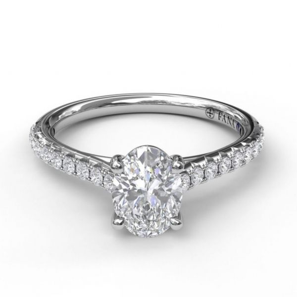 Oval Solitaire in Cathedral Setting Image 3  ,