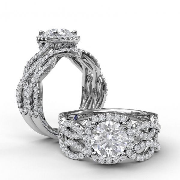 Round Cut with Cushion Halo Engagement Ring with Infinity Band Image 4 Parris Jewelers Hattiesburg, MS