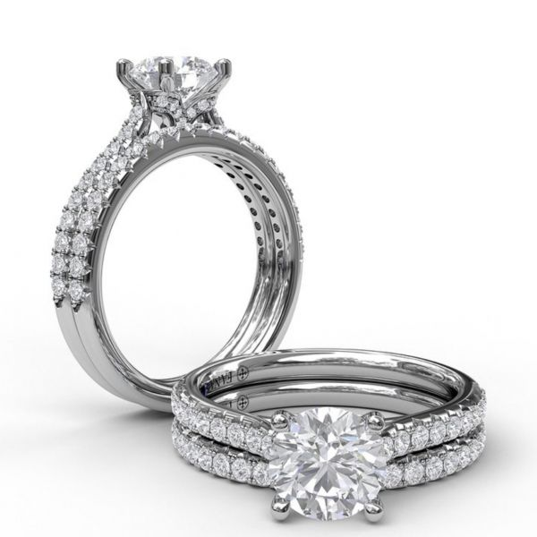 Delicate Round Cut and Pave Engagement Ring Image 4  ,