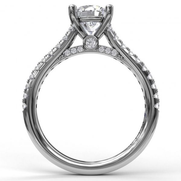 Diamond Lined Cathedral Band Engagement Ring Image 2  ,