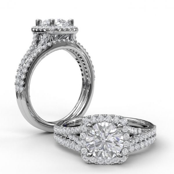 Cushion Halo with Pave Split Band Engagement Ring Image 4  ,