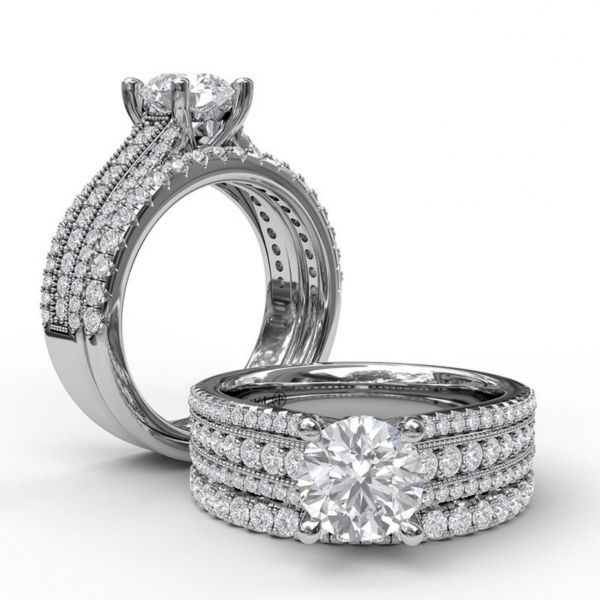 Three Row Stepped Engagement Ring Image 4  ,