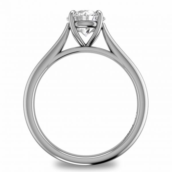 Round Solitaire with Cathedral Band Engagement Ring Image 2  ,