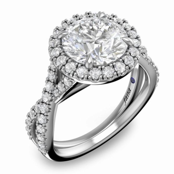 Round Halo Twist Engagement Ring Parris Jewelers Hattiesburg, MS