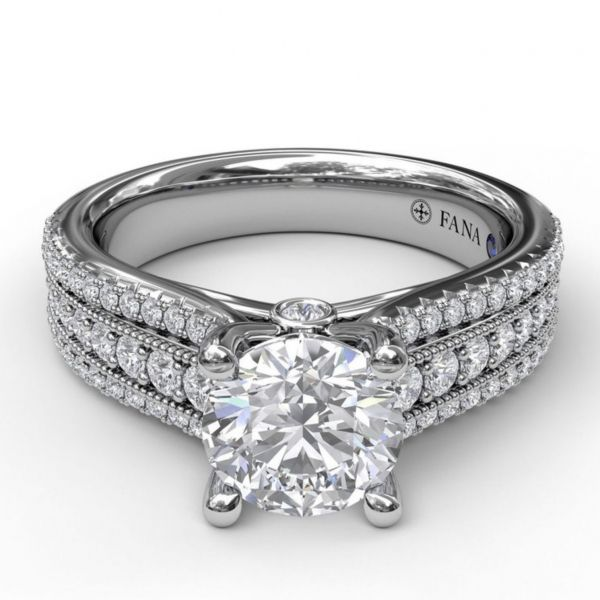 Three Row Stepped Engagement Ring Image 3  ,