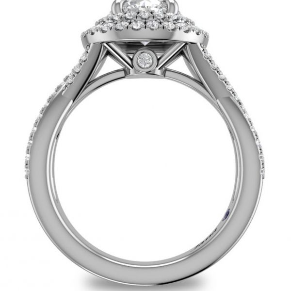 Double Halo Criss Cross Pave Engagement Ring Image 2 Parris Jewelers Hattiesburg, MS