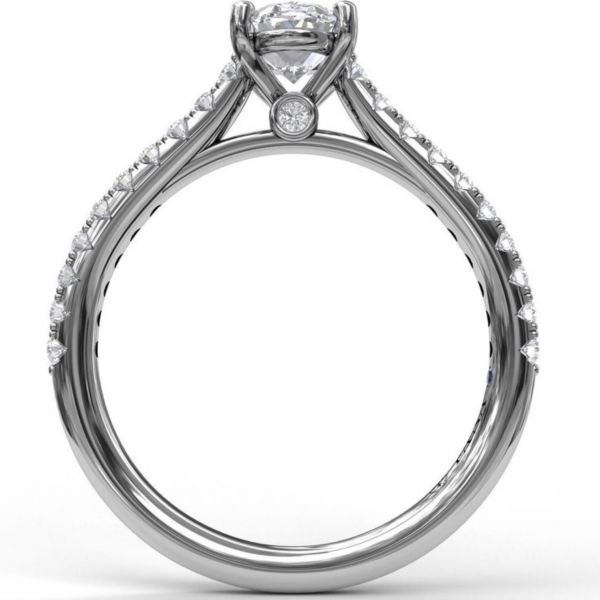 Oval Solitaire in Cathedral Setting Image 2  ,