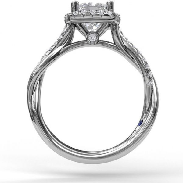 Cushion Cut Halo Ring with Criss Cross Band Image 2 Parris Jewelers Hattiesburg, MS