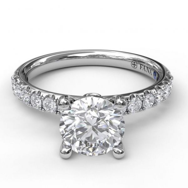 Classic Pave Round Cut Engagement Ring Image 3  ,