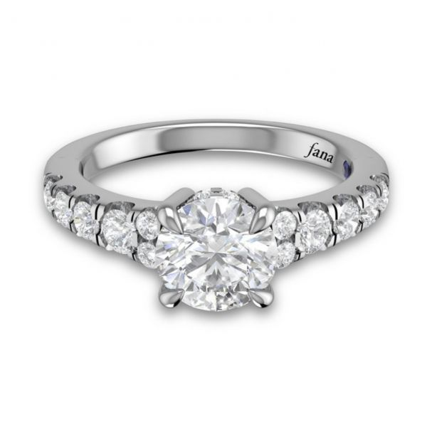 Single Row Designer Engagement Ring Image 3  ,