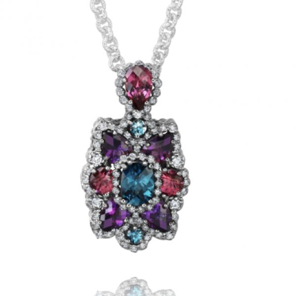 Sterling Silver, Diamond, and Multiple Colored Gem Stones Image 2 Parris Jewelers Hattiesburg, MS