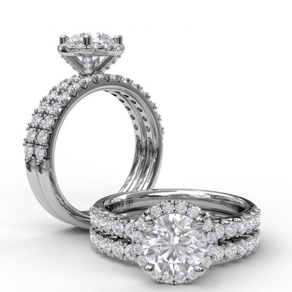 Round Halo and Round Cut with Pave Engagement Ring Image 4  ,