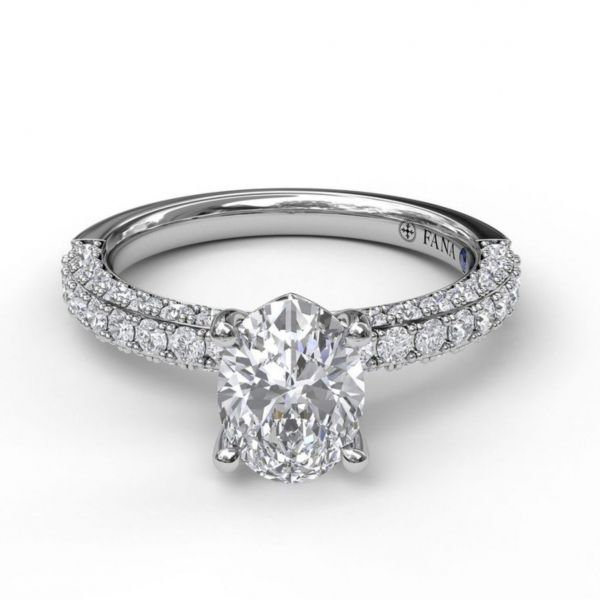 Delicate Oval Cut Solitaire with Diamond-Enhanced Band Image 3  ,