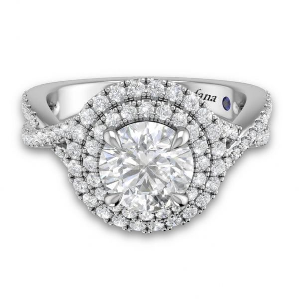 Double Halo Criss Cross Pave Engagement Ring Image 3 Parris Jewelers Hattiesburg, MS