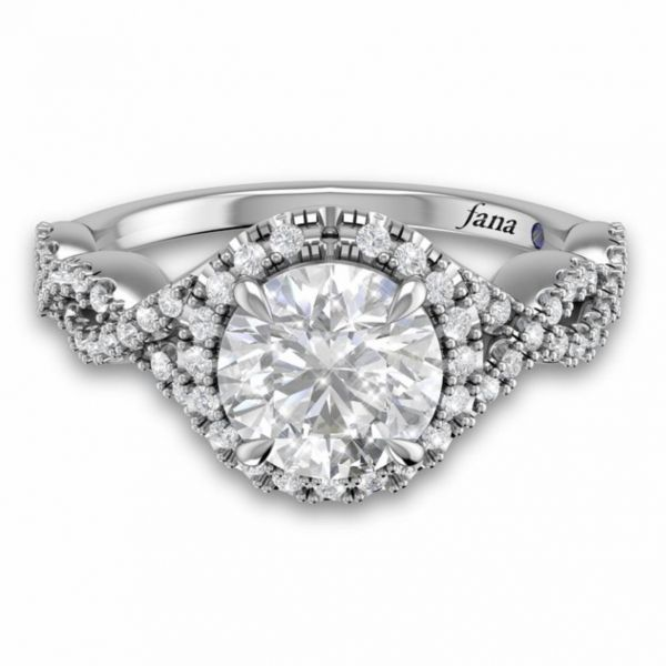 Round Halo with Pave Infinity Engagement Ring Image 3  ,
