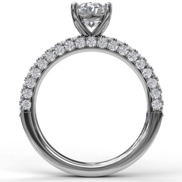 Delicate Oval Cut Solitaire with Diamond-Enhanced Band Image 2  ,