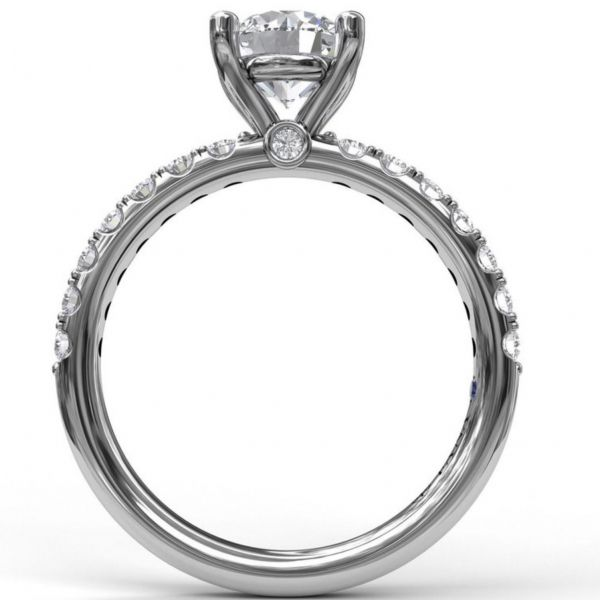 Classic Pave Round Cut Engagement Ring Image 2  ,