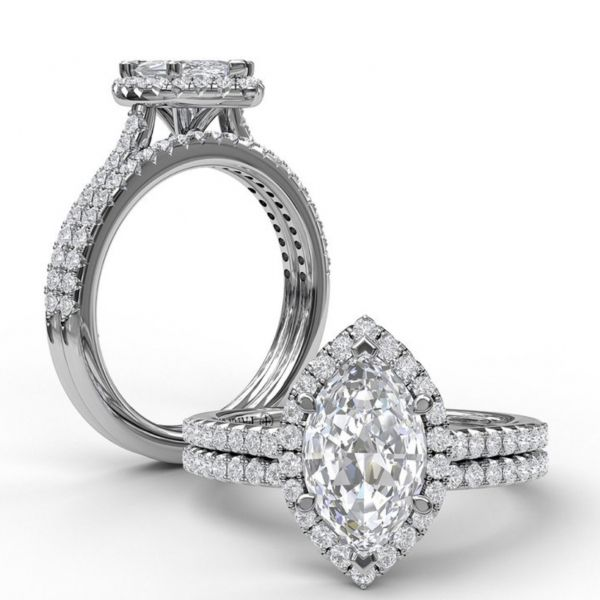 Marquise Diamond with Halo and Pave Engagement Ring Image 4  ,