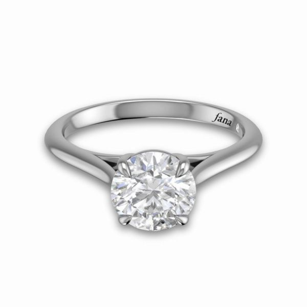 Round Solitaire with Cathedral Band Engagement Ring Parris Jewelers Hattiesburg, MS