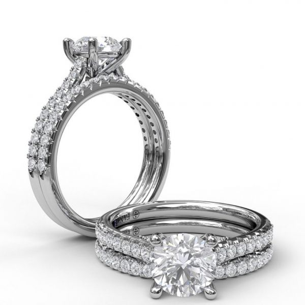 Diamond Lined Cathedral Band Engagement Ring Image 4  ,