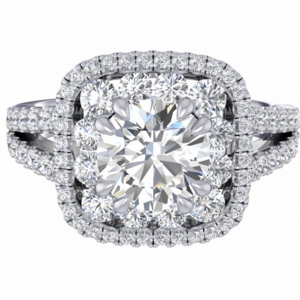 Large Diamond Cushion Double Halo Engagement Ring   Large Diamond Cushion Double Halo Engagement Ring   Large Diamond Cushion Do Image 3  ,