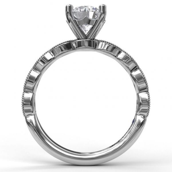 Round Cut Solitaire with Scalloped Band Image 2  ,