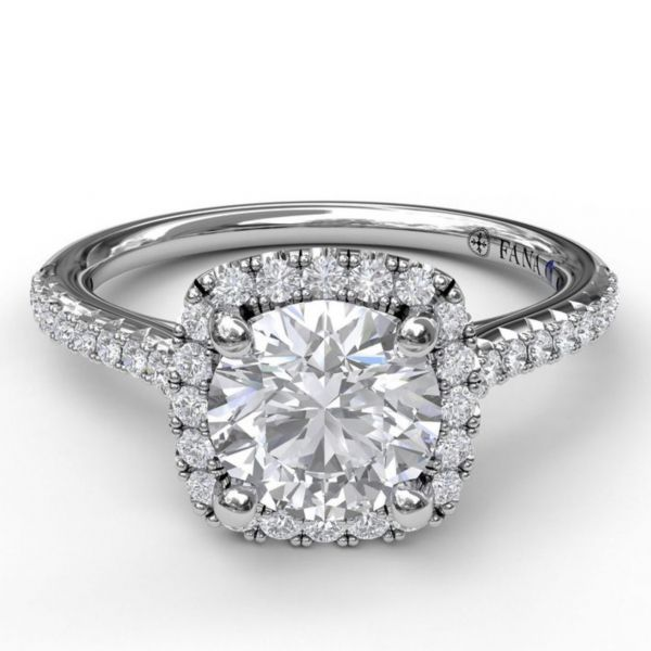 Bold Cushion Halo with Pave Band Engagement Ring Image 3  ,