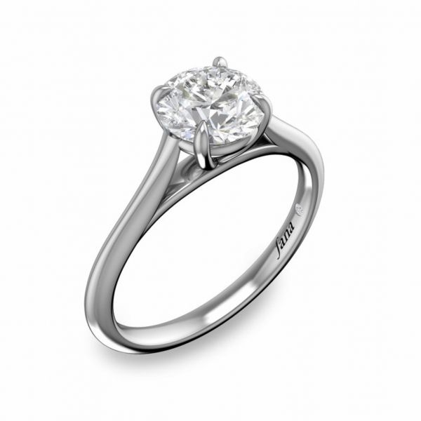 Round Solitaire with Cathedral Band Engagement Ring Image 3  ,