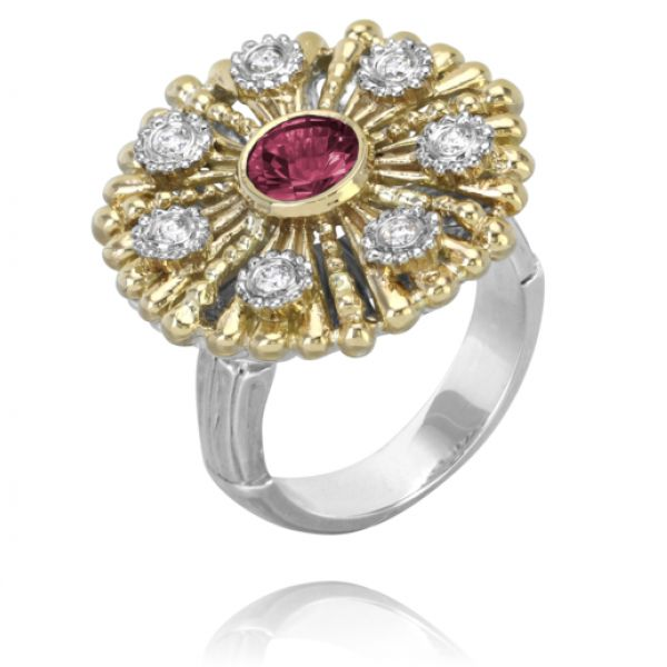 Sterling Silver, 14k Gold, Diamonds, and Rhodolite Garnet Parris Jewelers Hattiesburg, MS