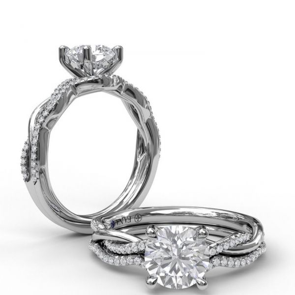 Gold and Diamond Twist Engagement Ring Image 4  ,