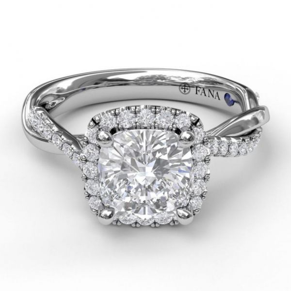 Cushion Cut Halo Ring with Criss Cross Band Image 3 Parris Jewelers Hattiesburg, MS