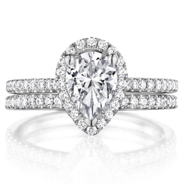 Pear Halo Engagement Ring Image 3  ,