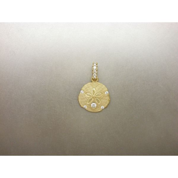 Sand Dollar Pendant 15 mm with 5 Dia and DB William Phelps Custom Jeweler Naples, FL