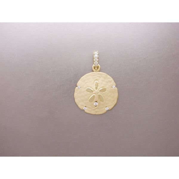 Sand Dollar Pendant 22 mm with 5 Dia and DB William Phelps Custom Jeweler Naples, FL