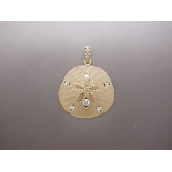 Sand Dollar Pendant 28 mm with 5 Dia and DB William Phelps Custom Jeweler Naples, FL