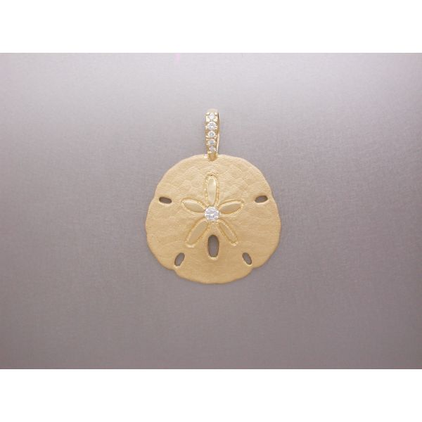 Sand Dollar Pendant 28 mm Dia Ctr and DB  William Phelps Custom Jeweler Naples, FL