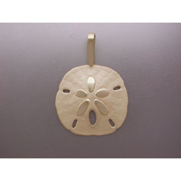 Sand Dollar Pendant 34 mm Plain Bail  William Phelps Custom Jeweler Naples, FL