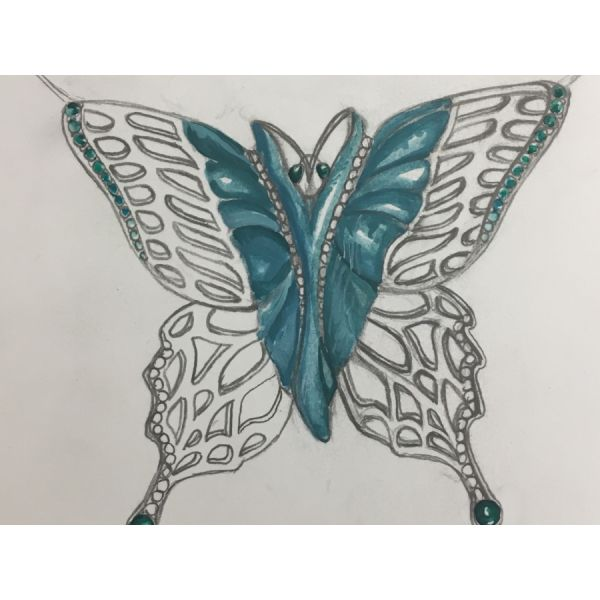 Mark Schneider Design Chrysophase Butterfly  William Phelps Custom Jeweler Naples, FL