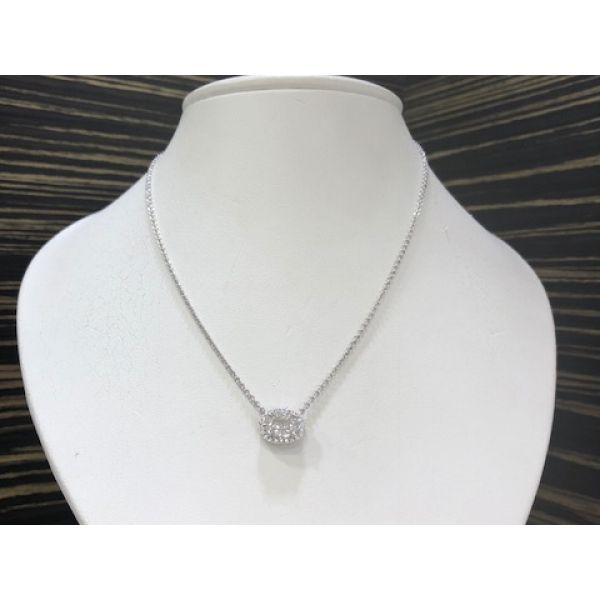 Jye's Oval Halo Mosaic Diamond Necklace William Phelps Custom Jeweler Naples, FL